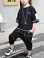 Недорогие -Дети Мальчики Активный На каждый день Черное и белое Геометрический принт С принтом С короткими рукавами Обычный Обычная Набор одежды Белый