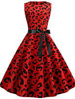 cheap -Women's Party Daily Vintage Style Street chic Swing Dress - Leopard Patchwork Print Red S M L XL