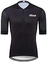 cheap -21Grams Men's Short Sleeve Cycling Jersey 100% Polyester Black Polka Dot Bike Jersey Top Mountain Bike MTB Road Bike Cycling UV Resistant Breathable Quick Dry Sports Clothing Apparel / Stretchy