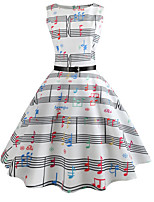 cheap -Women's White Dress Vintage Style Street chic Party Daily Swing Print Patchwork Print S M / Cotton