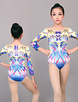 cheap -Rhythmic Gymnastics Leotards Artistic Gymnastics Leotards Women's Girls' Leotard Blue Spandex High Elasticity Handmade Jeweled Diamond Look Long Sleeve Competition Dance Rhythmic Gymnastics Artistic