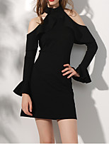cheap -A-Line Halter Neck Short / Mini Spandex Little Black Dress / Black Cocktail Party / Homecoming Dress with Ruffles 2020