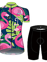 cheap -21Grams Women's Short Sleeve Cycling Jersey with Shorts Pink+Green Floral Botanical Bike Breathable Quick Dry Sports Patterned Mountain Bike MTB Road Bike Cycling Clothing Apparel / Micro-elastic