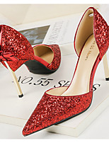 cheap -Women's Heels Crystal Sandals Stiletto Heel Pointed Toe PU Spring & Summer Red / Champagne / Gold / Daily