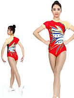 cheap -Rhythmic Gymnastics Leotards Artistic Gymnastics Leotards Women's Girls' Kids Leotard Spandex High Elasticity Handmade Short Sleeve Competition Dance Rhythmic Gymnastics Artistic Gymnastics Red