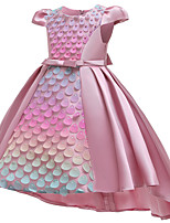 cheap -The Little Mermaid Princess Dress Flower Girl Dress Girls' Movie Cosplay A-Line Slip Dusty Rose / Pink / Green Dress Children's Day Masquerade Cotton Polyster
