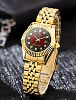 cheap -Women's Quartz Watches Synthetic Diamond Classic Casual Gold Stainless Steel Chinese Quartz Red Gold Green Water Resistant / Waterproof Casual Watch Imitation Diamond 30 m 1 pc Analog One Year