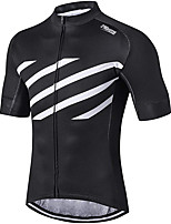 cheap -21Grams Men's Short Sleeve Cycling Jersey 100% Polyester Black / White Stripes Bike Jersey Top Mountain Bike MTB Road Bike Cycling UV Resistant Breathable Quick Dry Sports Clothing Apparel / Stretchy