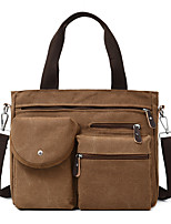 cheap -Men's Zipper Canvas Top Handle Bag Canvas Bag Color Block Black / Khaki / Brown / Fall & Winter