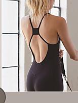 cheap -Women's Aerial Yoga Jumpsuit Winter Black Navy Elastane Ballet Dance Gymnastics Romper Sport Activewear Breathable Soft Stretchy