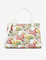cheap -Women's PU Top Handle Bag Floral Print White