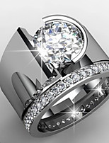 cheap -Men's Women's Ring AAA Cubic Zirconia 1pc Silver Platinum Plated Alloy Stylish Wedding Engagement Jewelry Cute