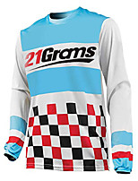 cheap -21Grams Men's Long Sleeve Cycling Jersey Downhill Jersey Dirt Bike Jersey 100% Polyester Grey Green Sky Blue Plaid / Checkered Bike Jersey Top Mountain Bike MTB Road Bike Cycling UV Resistant