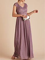 cheap -A-Line V Neck Floor Length Chiffon Empire / Purple Wedding Guest / Formal Evening Dress with Pleats / Lace Insert 2020