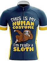 cheap -21Grams Men's Short Sleeve Cycling Jersey 100% Polyester Blue+Yellow Animal Sloth Bike Jersey Top Mountain Bike MTB Road Bike Cycling UV Resistant Breathable Quick Dry Sports Clothing Apparel