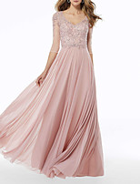 cheap -A-Line V Neck Floor Length Chiffon Beautiful Back / Pink Engagement / Formal Evening Dress with Pleats / Beading / Appliques 2020