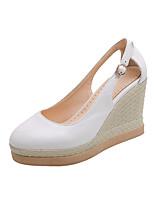 cheap -Women's Sandals Wedge Heel Round Toe PU Classic / Minimalism Fall / Spring & Summer Black / White / Pink