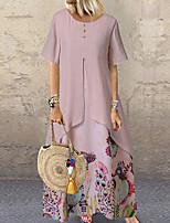 cheap -Women's Maxi Blushing Pink Green Dress Swing Geometric M L Loose