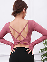 cheap -Women's Yoga Top Crop Top Cropped Solid Color Red Blue Black Elastane Yoga Running Fitness Top Long Sleeve Sport Activewear Breathable Quick Dry Comfortable High Elasticity Slim