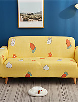 cheap -Yellow Cartoon Carrot Print Dustproof All-powerful Slipcovers Stretch Sofa Cover Super Soft Fabric Couch Cover with One Free Pillow Case
