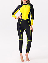 cheap -Women's Rash Guard Dive Skin Suit One Piece Swimsuit Elastane Diving Suit Bodysuit Thermal / Warm Breathable Quick Dry Full Body Front Zip - Swimming Diving Water Sports Patchwork Autumn / Fall