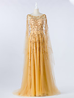cheap -A-Line Boat Neck Court Train Tulle Luxurious / Gold Engagement / Formal Evening Dress with Beading 2020