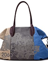 cheap -Women's Zipper Canvas Top Handle Bag Color Block Brown / Purple / Blue