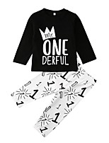 cheap -Baby Girls' Street chic Print Long Sleeve Regular Clothing Set Black