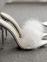 cheap -Women's Sandals Furry Feather Stiletto Heel Round Toe Suede Spring & Summer White