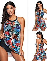 cheap -Women's One Piece Swimsuit Elastane Swimwear UV Sun Protection Breathable Quick Dry Sleeveless Swimming Water Sports Summer / High Elasticity