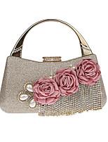 cheap -Women's Tassel / Flower Polyester / Alloy Evening Bag Floral Print Black / Champagne / Gold