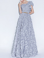 cheap -A-Line One Shoulder Floor Length Polyester Luxurious / Grey Engagement / Prom Dress with Appliques / Sash / Ribbon 2020