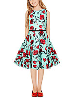 cheap -Kids Girls' Vintage Cute Plants Floral Patchwork Print Sleeveless Above Knee Dress Light Green