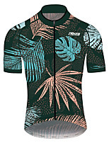 cheap -21Grams Men's Short Sleeve Cycling Jersey 100% Polyester Green / Yellow Floral Botanical Bike Jersey Top Mountain Bike MTB Road Bike Cycling UV Resistant Breathable Quick Dry Sports Clothing Apparel
