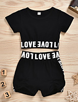 cheap -Baby Girls' Casual Street chic The Little Mermaid Solid Colored Short Sleeve Regular Clothing Set Black