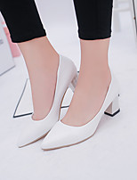 cheap -Women's Heels Chunky Heel Pointed Toe PU Classic / Minimalism Spring & Summer Black / White / Pink