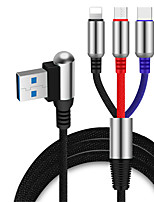 cheap -Angle Head 3 in 1 USB Cable for iPhone 11 Pro Max Bullet Type-C Micro USB Charging Cable 90 Degree 2.4A Charger Phone Cord for Xiaomi