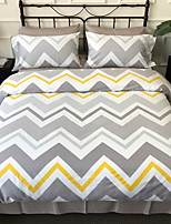 cheap -Duvet Cover Sets 4 Piece Linen / Cotton Geometric Light gray Printed Simple
