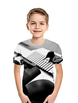 cheap -Kids Boys' Active Street chic Geometric Color Block 3D Short Sleeve Tee Black