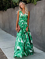 cheap -Women's Maxi Green Dress Swing Floral V Neck S M
