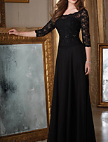 cheap -A-Line Scoop Neck Floor Length Chiffon Elegant / Black Wedding Guest / Formal Evening Dress with Beading / Appliques 2020