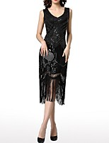cheap -Sheath / Column V Neck Knee Length Polyester Roaring 20s / 1920s Fashion Cocktail Party / Party Wear Dress with Sequin / Tassel 2020