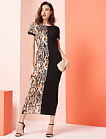 cheap -Women's Party Daily Sexy Sophisticated Shift Maxi Dress - Color Block Black S M L XL