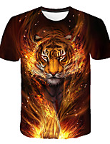 cheap -Kids Boys' Basic Street chic Tiger Color Block 3D Animal Print Short Sleeve Tee Navy Blue