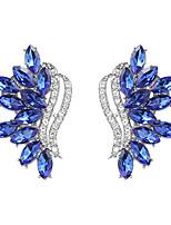 cheap -Women's Hoop Earrings Vintage Style Angel Wings Elegant Sweet Fashion Imitation Diamond Earrings Jewelry Blue For Wedding Party 1 Pair