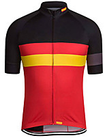 cheap -21Grams Men's Short Sleeve Cycling Jersey 100% Polyester Black / Red Spain National Flag Bike Jersey Top Mountain Bike MTB Road Bike Cycling UV Resistant Breathable Quick Dry Sports Clothing Apparel