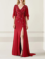 cheap -A-Line V Neck Sweep / Brush Train Chiffon Sexy / Red Wedding Guest / Formal Evening Dress with Beading / Draping / Split 2020