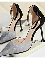cheap -Women's Heels Crystal Sandals Stiletto Heel Pointed Toe PU Spring & Summer Black / Gold / Black / Silver / Pink / Daily