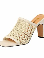 cheap -Women's Sandals Chunky Heel Open Toe Faux Leather Casual / Minimalism Spring / Summer Black / Almond / White