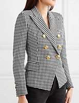 cheap -Women's Blazer, Houndstooth / Solid Colored Notch Lapel Polyester Black / White / Fuchsia